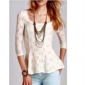 Free People Cream Flower Lace Blouse